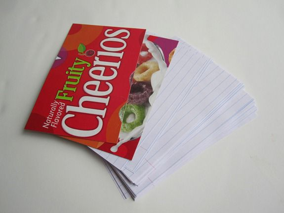 Cereal box crafts notepads infarrantly creative look through all of the boxes you have and then cut out the cardboard box to fit the same size as your paper you just cut ccuart Choice Image