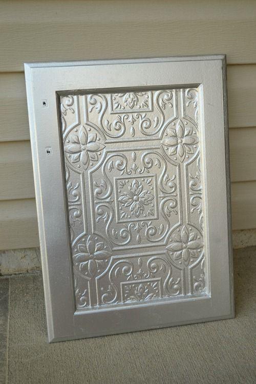 Faux Tin Tile Cabinets Infarrantly Creative