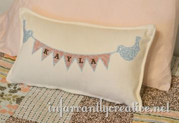 Bird and Banner Pillow