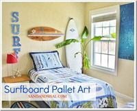 Surfboard Pallet Art sign