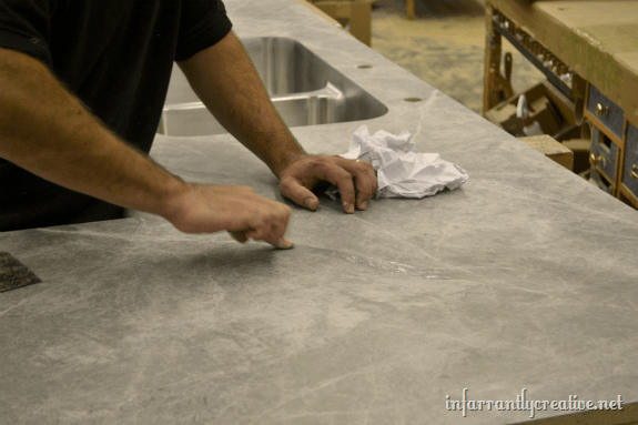 seam filling miter of countertop