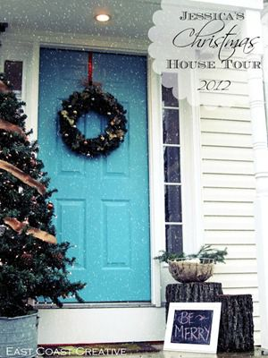 blue front door christmas