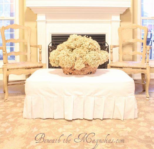 Beneath the Magnolias ottoman slipcover tutorial