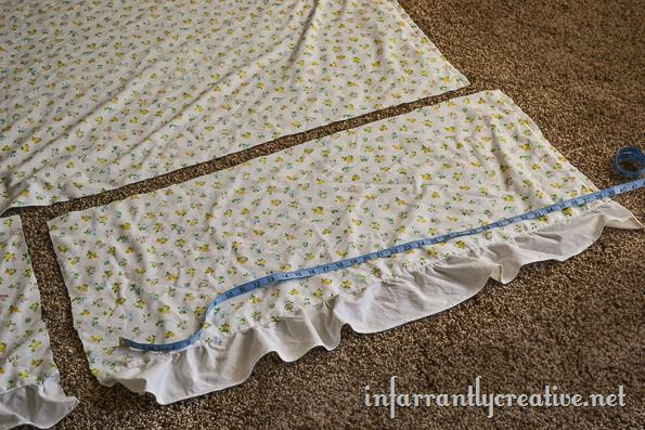 vintage sheet skirt with ruffle