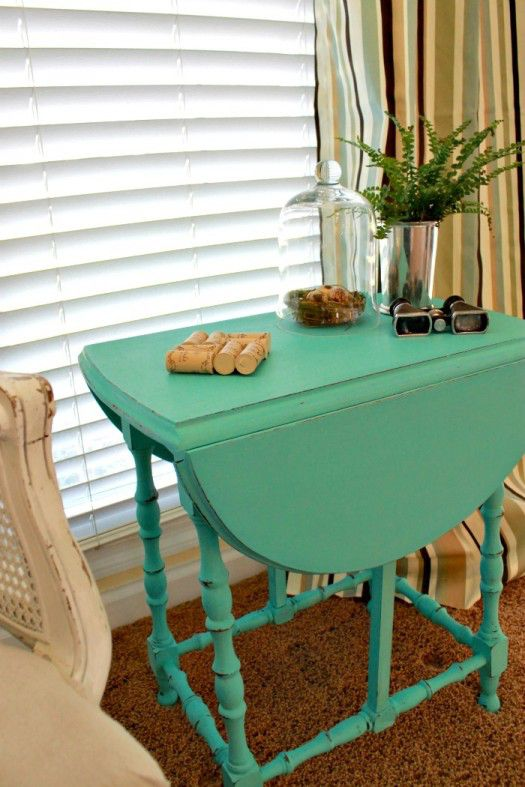 Mom 4 Real turquoise drop leaf table