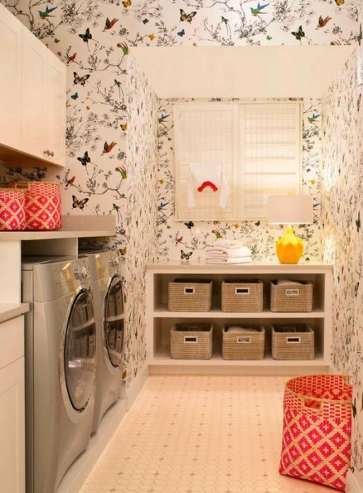 Wallpapered Laundry Room inspiration picture