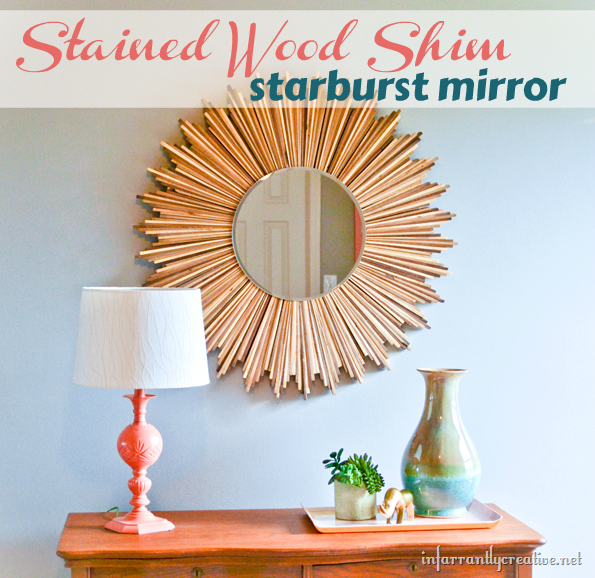 DIY Stained Wood Shim Starburst Mirror