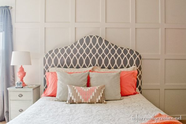 Sources: The Coral Pillow Cases I Found At Goodwill, The Striped Gray  Square Pillows Are From IKEA, The Tan And Coral Lumbar Pillow Was A Gift  From My Photo ...