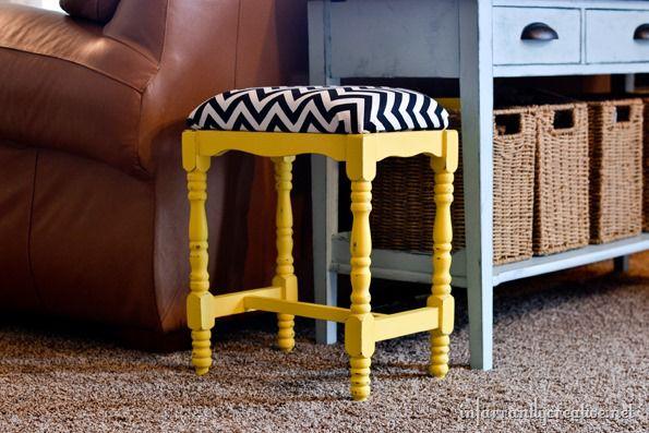 yellow chalk painted stool
