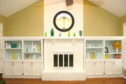Homemade Ginger painted fireplace makeover