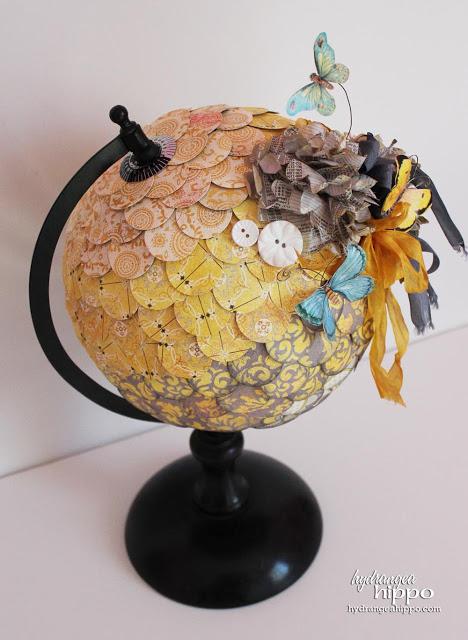 Hydrangea Hippo embellished globe