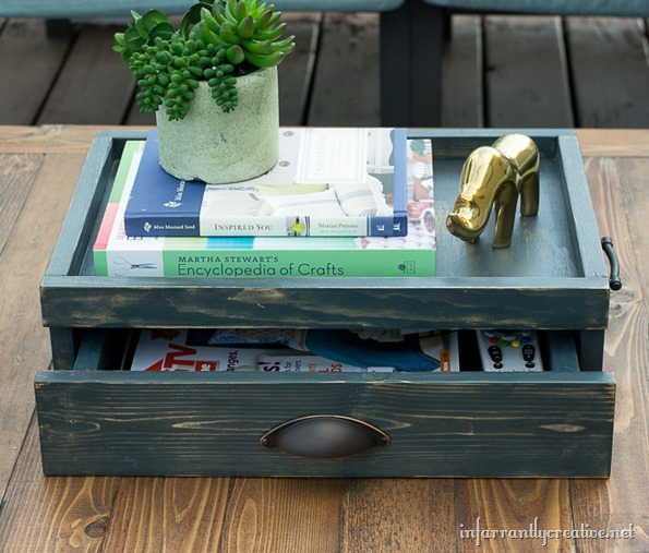coffee table tray with drawer
