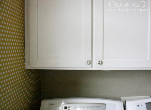 Jones Design Co painting laundry cabinets