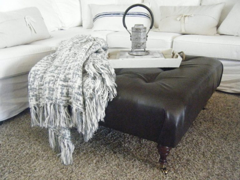 Knock Off Decor leather ottoman