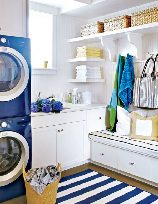 Style at Home blue and white laundry room