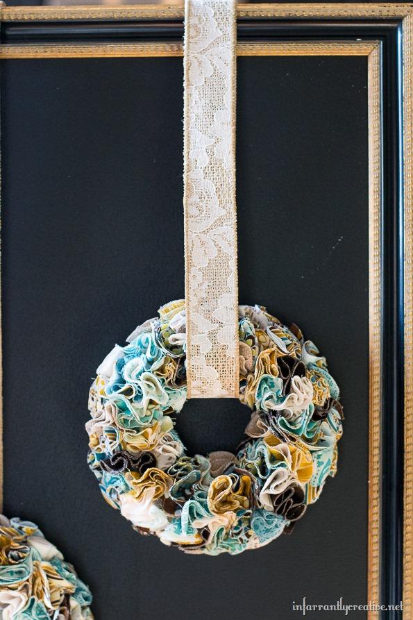 mini wreath on chalkboard frame
