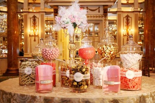 Two Belles Events coral gold candy bar