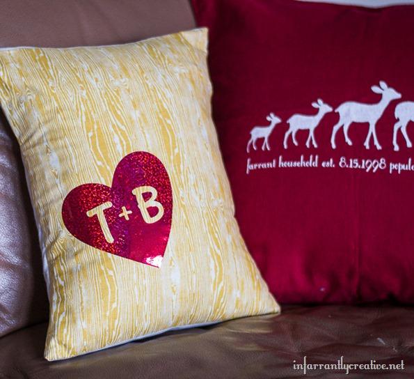wood grain initials decorative pillow