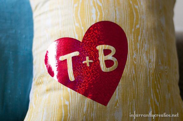 wood grain initials pillow