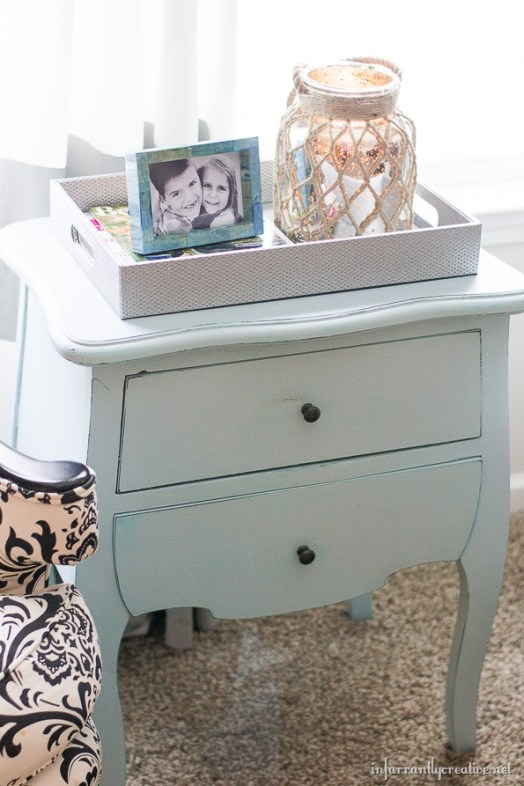 Chalk-Like Paint Finished Ice Blue Table