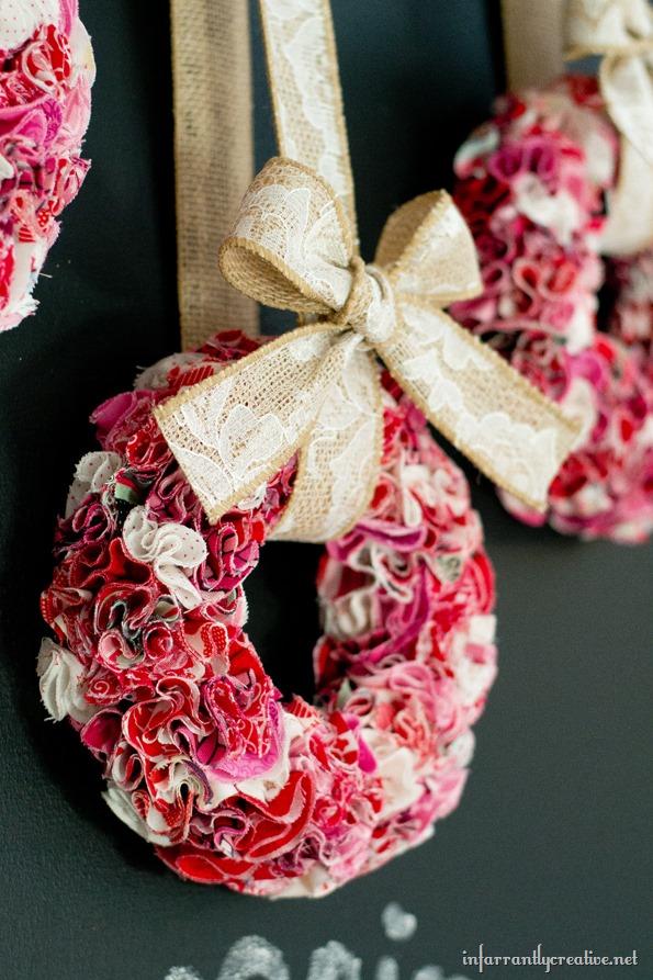 mini ruffle fabric wreaths