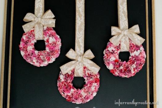 Valentine's Day Trio of Mini Ruffle Wreaths