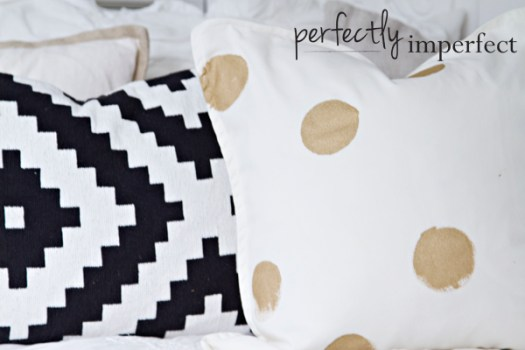 Perfectly Imperfect painted gold dot pillow