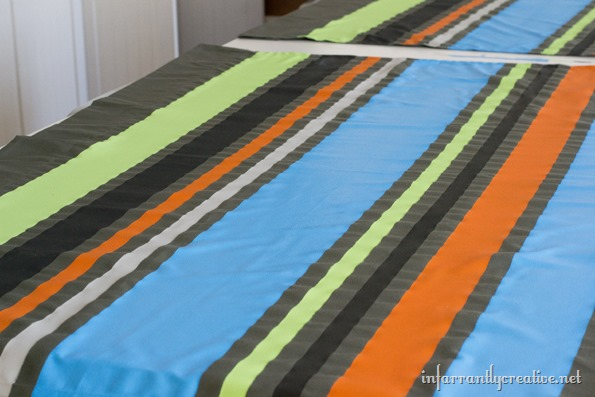colorful painted stripes on curtains