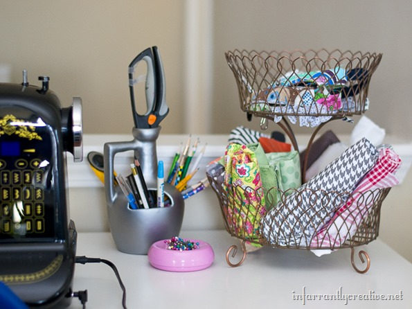 sewing desk organization