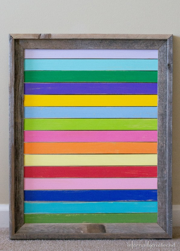 painted paint stick frame