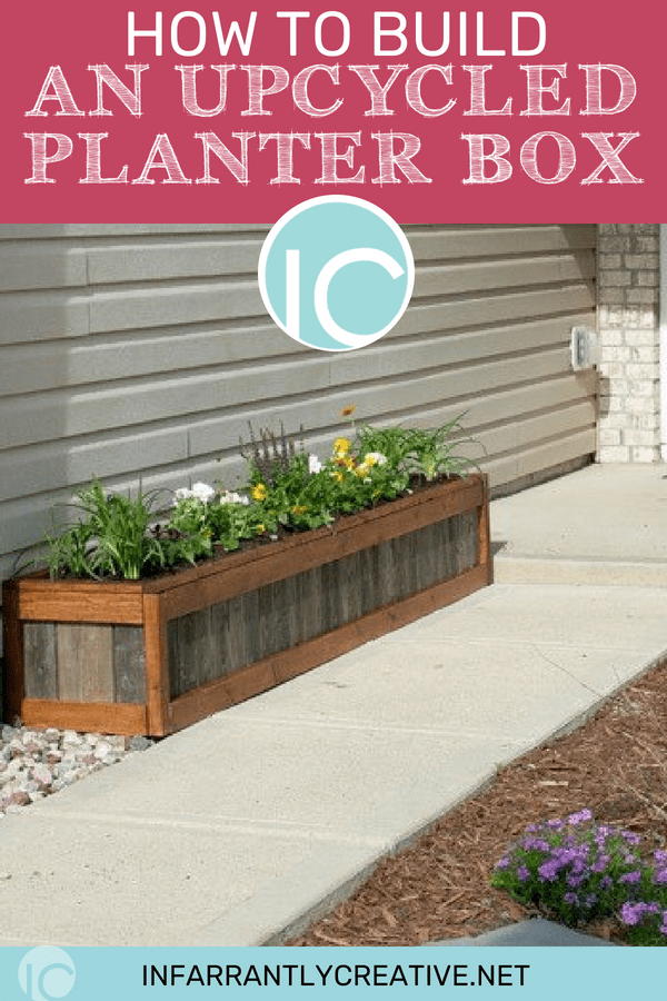 planter box along a sidewalk up to the front porch