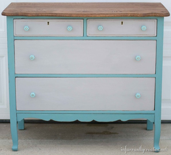 two toned chalk painted dresser