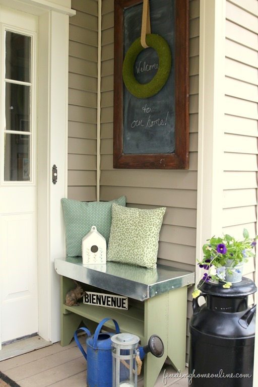 Wood Bench with a Galvanized Metal Top