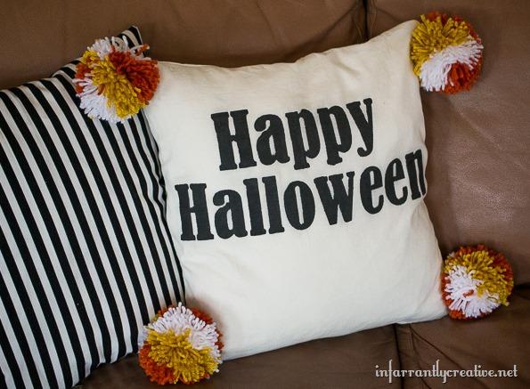 diy halloween pom pom pillow - Halloween Pom Poms