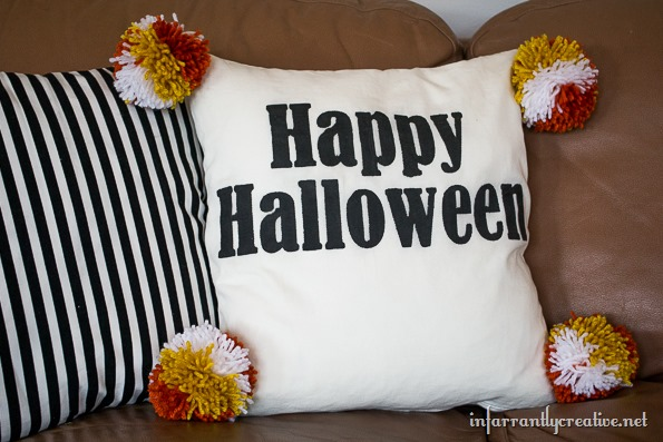 DIY pom pom pillow halloween
