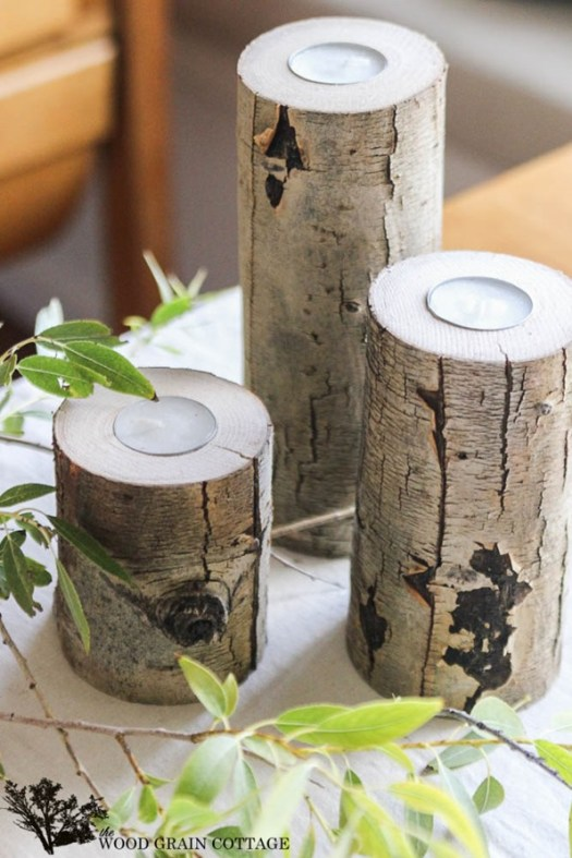 Wood Branch Candle Holder
