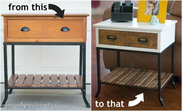 before and after white top side table