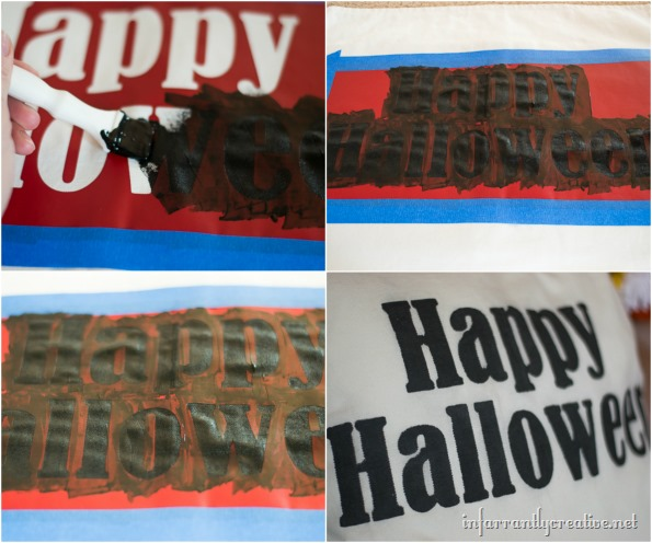 stenciled halloween pillow