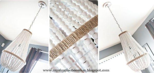 DIY white beaded chandelier