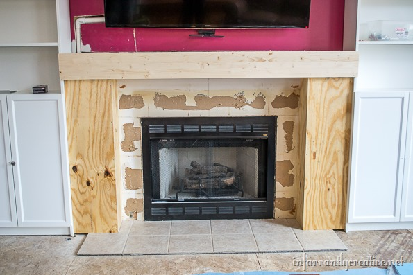 DIY fireplace wood mantel