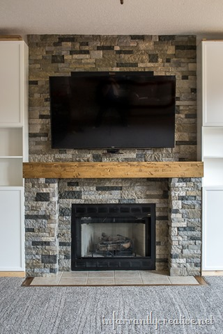 family room makeover part 4 airstone fireplace makeover
