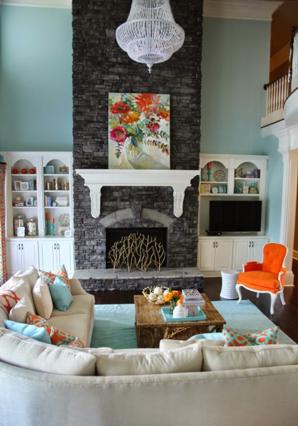 House of Turquoise fireplace living room