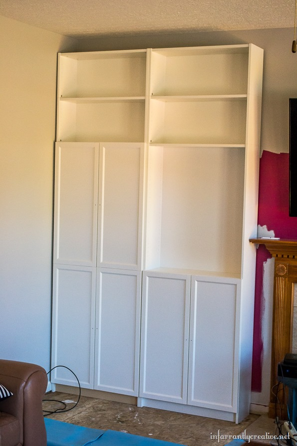 family room makeover part 1 installing ikea billy bookcases infarrantly creative. Black Bedroom Furniture Sets. Home Design Ideas