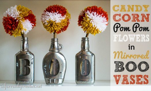 Pom Pom Flowers in Mirrored Boo Jars