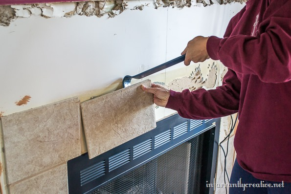 getting rid of fireplace tile