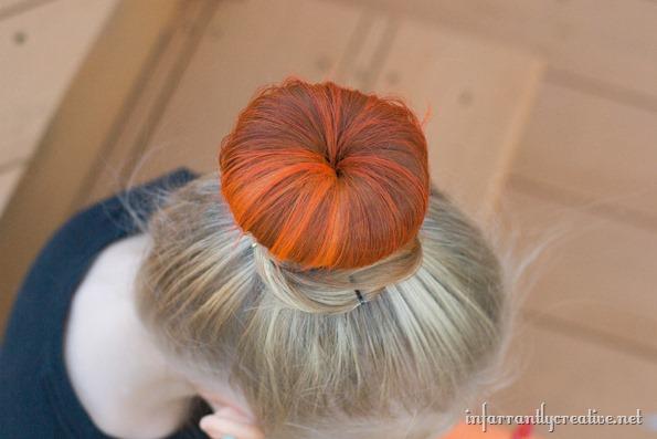 orange hair bun