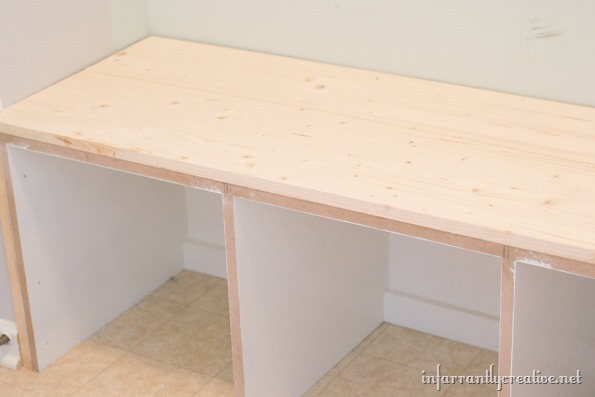 top of mudroom bench
