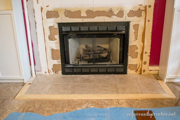 wood fireplace hearth DIY