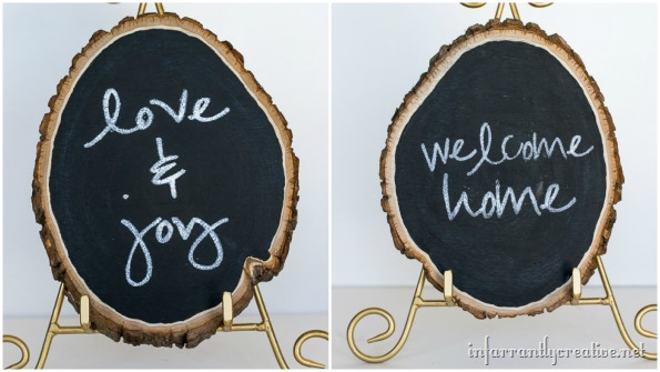 DIY chalkboard wood slice