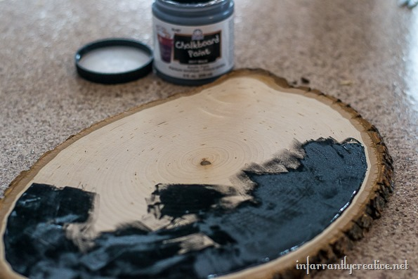 challkboard wood slice